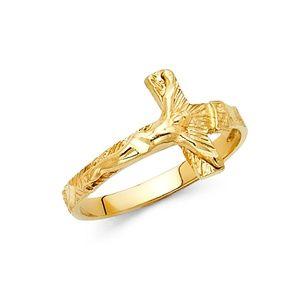 New 14K Yellow Gold Religious Cross Ring